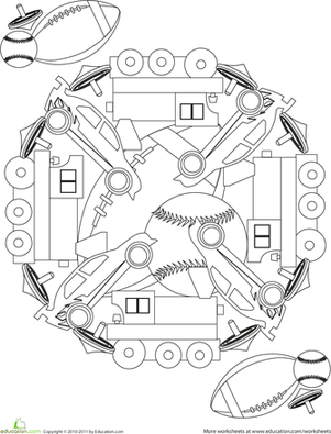 First Grade Coloring Worksheets: Toy Mandala: Cars and Trains!