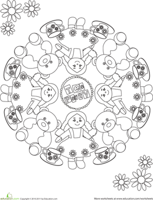 First Grade Coloring Worksheets: Tea Party Coloring