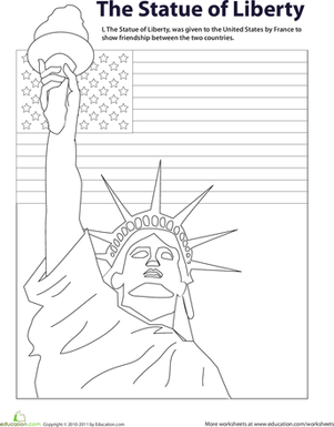 First Grade Social studies Worksheets: Color the Statue of Liberty