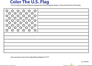First Grade Holidays & Seasons Worksheets: USA Flag Coloring Page