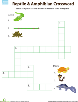 First Grade Science Worksheets: Critter Crossword: Reptiles and Amphibians