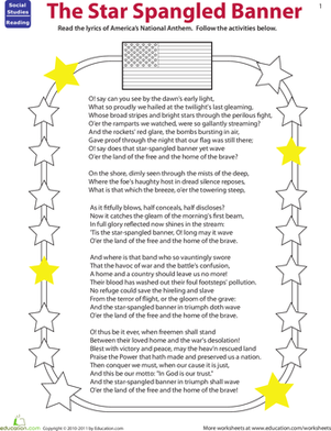 Fourth Grade Reading & Writing Worksheets: Read the Star Spangled Banner