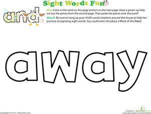 Preschool Reading & Writing Worksheets: Spruce Up the Sight Word: Away