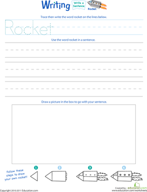 "Kindergarten Reading & Writing Worksheets: Jump Into Writing: Write a ""Rocket"" Sentence"