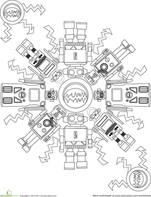 First Grade Coloring Worksheets: Robot Coloring Page