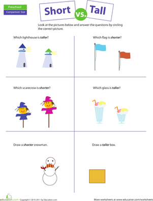 Preschool Math Worksheets: Comparing: Short vs. Tall