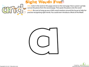 Preschool Reading & Writing Worksheets: Sight Word Fun