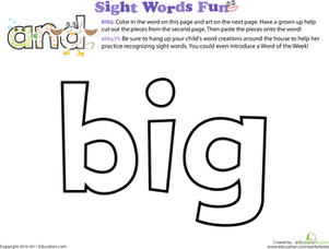 Preschool Reading & Writing Worksheets: Spruce Up the Sight Word: Big