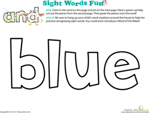 Preschool Reading & Writing Worksheets: Spruce Up the Sight Word: Blue