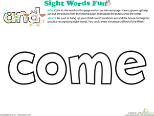 Preschool Reading & Writing Worksheets: Spruce Up the Sight Word: Come