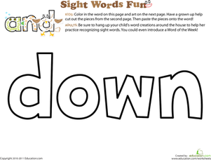 Preschool Reading & Writing Worksheets: Spruce Up the Sight Word: Down