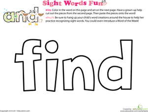 Preschool Reading & Writing Worksheets: Spruce Up the Sight Word: Find