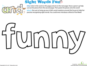 Preschool Reading & Writing Worksheets: Spruce Up the Sight Word: Funny