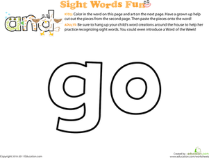 Preschool Reading & Writing Worksheets: Spruce Up the Sight Word: Go