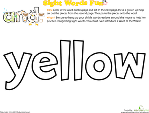 Preschool Reading & Writing Worksheets: Spruce Up the Sight Word: Yellow