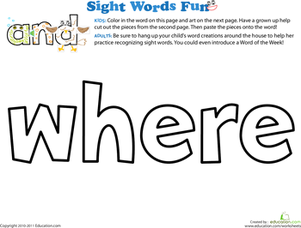 Preschool Reading & Writing Worksheets: Spruce Up the Sight Word: Where