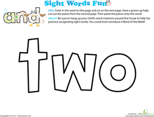 Preschool Reading & Writing Worksheets: Spruce Up the Sight Word: Two