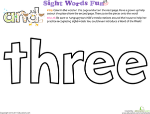 Preschool Reading & Writing Worksheets: Spruce Up the Sight Word: Three