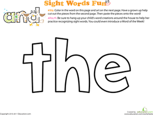 Preschool Reading & Writing Worksheets: Sight Word: The