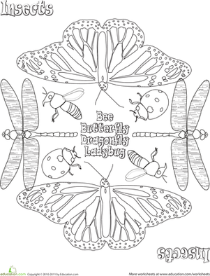 First Grade Coloring Worksheets: Color a Mandala: Insects