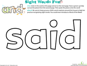 Preschool Reading & Writing Worksheets: Spruce Up the Sight Word: Said