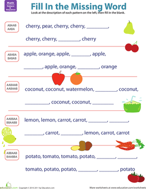 First Grade Math Worksheets: Complete the Fruit Pattern