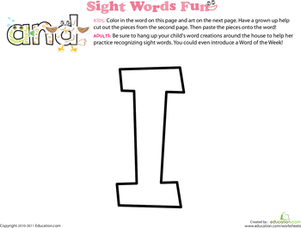 Preschool Reading & Writing Worksheets: Spruce Up the Sight Word: I