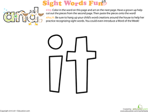 Preschool Reading & Writing Worksheets: Spruce Up the Sight Word: It