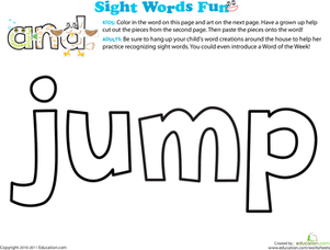 Preschool Reading & Writing Worksheets: Spruce Up the Sight Word: Jump
