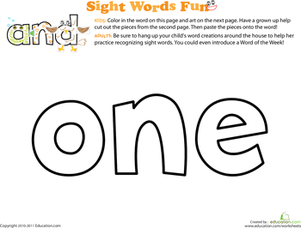 Preschool Reading & Writing Worksheets: Spruce Up the Sight Word: One
