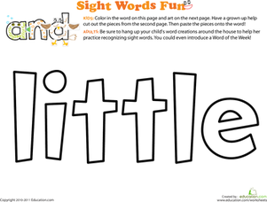 Preschool Reading & Writing Worksheets: Spruce Up the Sight Word: Little