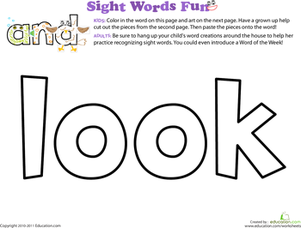 Preschool Reading & Writing Worksheets: Spruce Up the Sight Word: Look