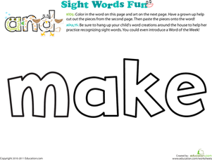 Preschool Reading & Writing Worksheets: Spruce Up the Sight Word: Make