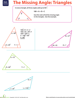 The Missing Angle: Triangles | Worksheet | Education.com