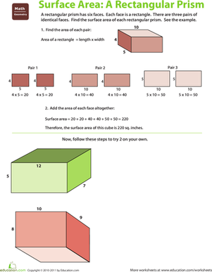 Fifth Grade Math Worksheets: Find the Surface Area: Rectangular Prism