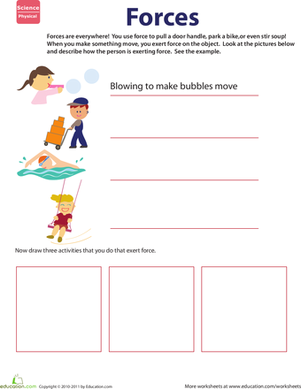 Second Grade Science Worksheets: Learn About Force
