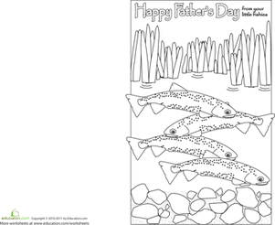 First Grade Holidays Worksheets: Printable Father's Day Card