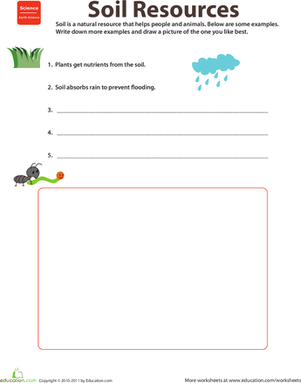 Second Grade Science Worksheets: Natural Resources: Soil