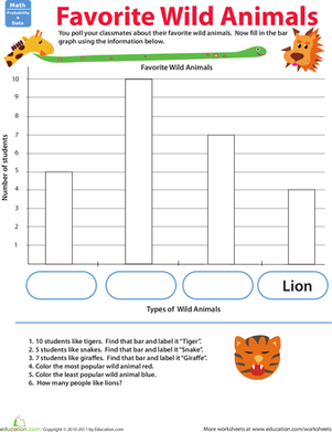 Second Grade Math Worksheets: Build a Bar Graph: Favorite Animals