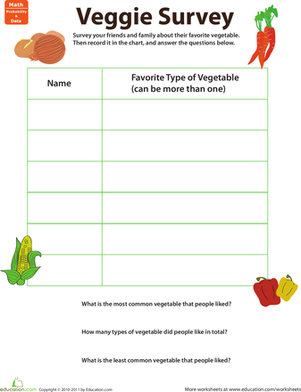 Second Grade Math Worksheets: Do a Survey! Favorite Veggies