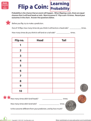 Flip a Coin: Learning Probability | Worksheet | Education.com