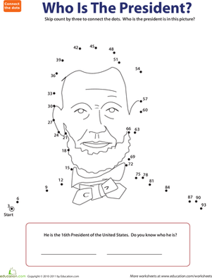 Second Grade Holidays & Seasons Worksheets: Skip Counting Dot to Dot: Presidents