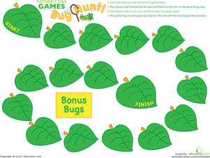 Preschool Holidays & Seasons Worksheets: Insect Game: Hunt for (Fake) Insects!