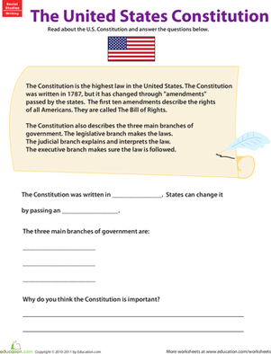 Third Grade Social studies Worksheets: Learn About the U.S. Constitution