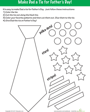 Third Grade Holidays Worksheets: Father's Day Coloring: Make a Tie