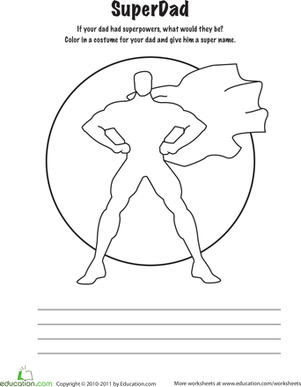 Second Grade Reading & Writing Worksheets: Super Dad Coloring Page