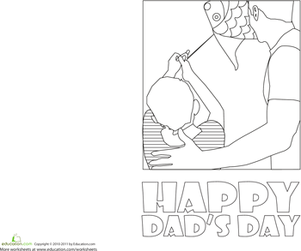 Second Grade Holidays & Seasons Worksheets: Dads' Day Greeting Card