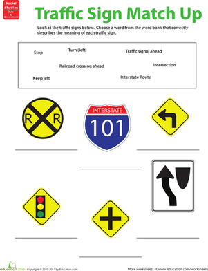 Second Grade Social studies Worksheets: Traffic Sign Matchup