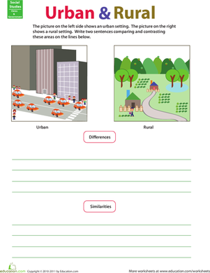 Second Grade Reading & Writing Worksheets: Compare and Contrast: Rural and Urban