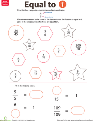 Second Grade Math Worksheets: Fraction Practice: Equal to 1